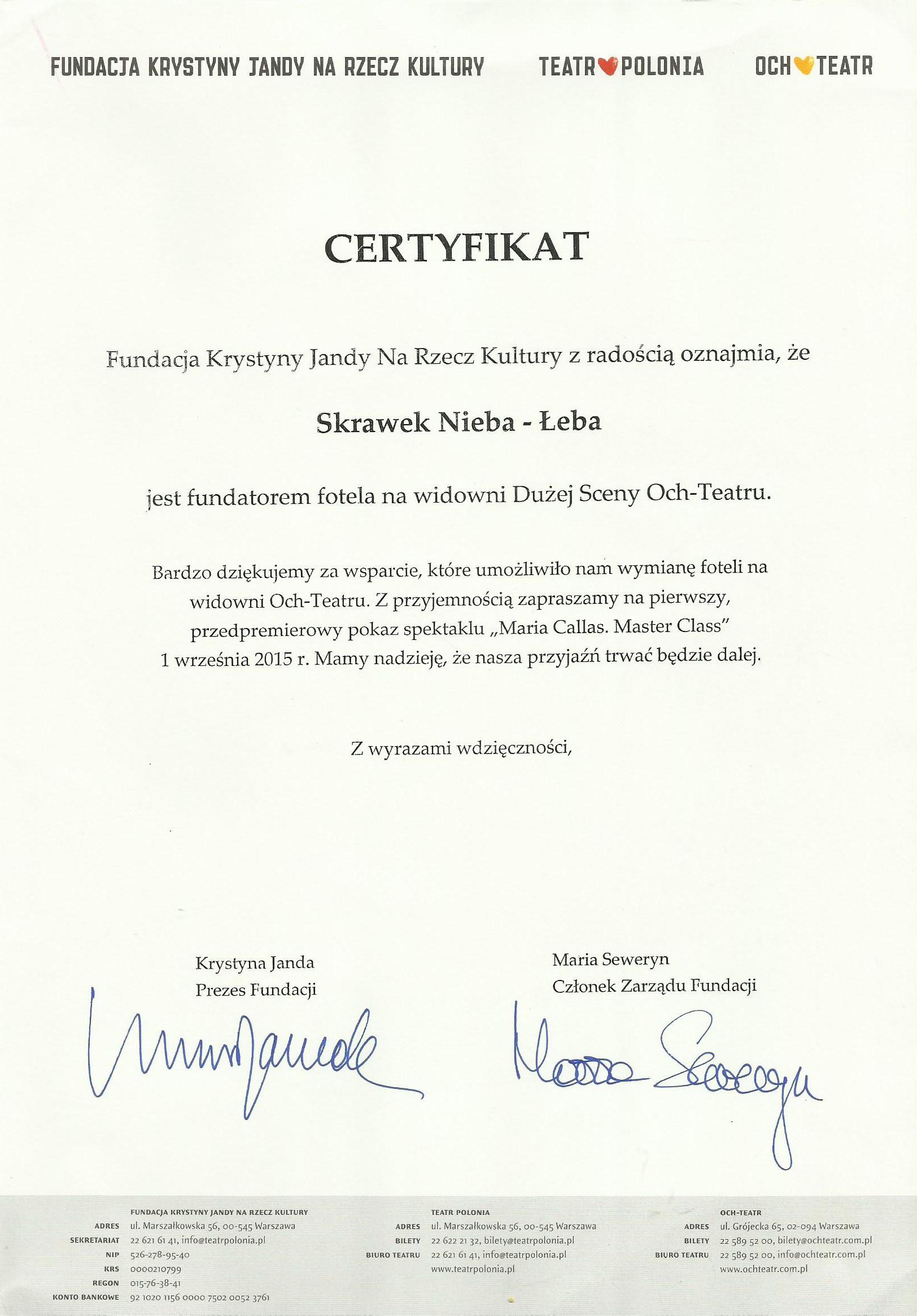 Certyfikat fotel Skrawka Nieba w teatrze Polonia